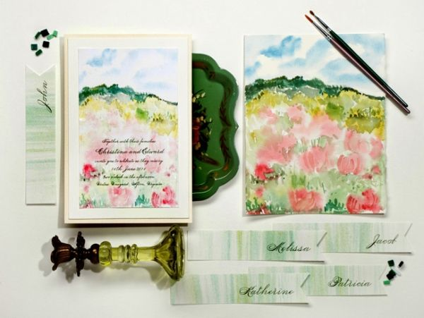 Attractive Handpainted Wedding Stationery By Momental Designs