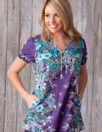 koi Rambling Rose from Happythreads - with two front pockets & Novelty front tying with fun-shaped beads.  Popular Uniform with Carers, Care Assistants. Match with Amethyst Trousers FIND US on www.happythreads.co.uk. #dental #uniforms #nurse #female #scrubs #tunics #top #healthcare #koi #rambling #happythreads