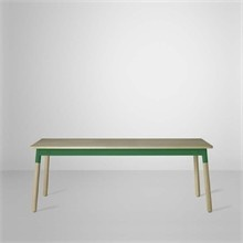 Adaptable matbord - skiva: ek, sarg: grön, ben:ek