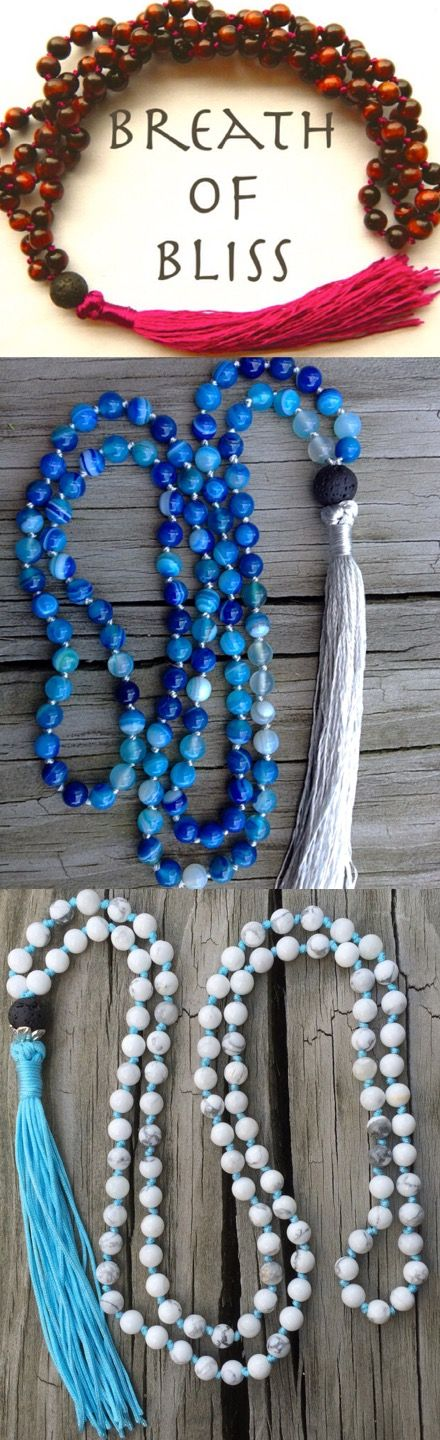 Breathofbliss.etsy.com Do you ever have trouble focusing on your meditation? Try using these beautiful mala beads. 108 beads for 108 breaths.