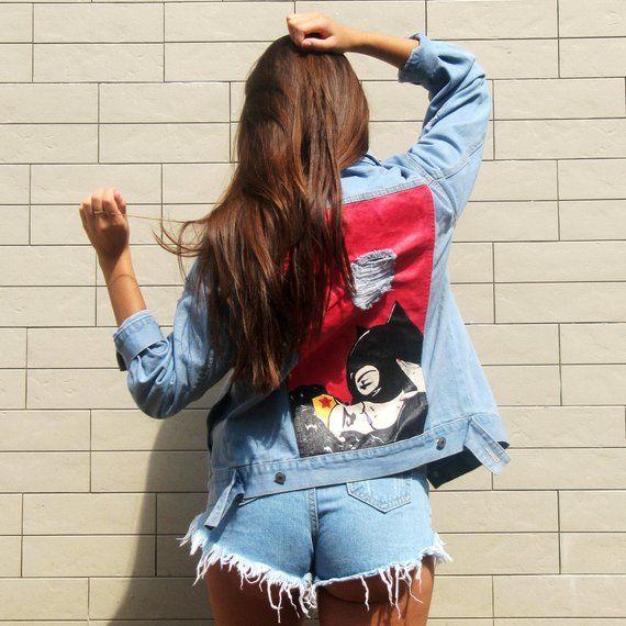 fae202e1f18a2 Handmade Summer Jacket, Hand Painted Jean Jacket, Oversized Denim ...