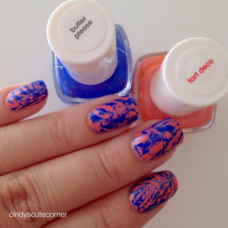 Cobalt and Peach Nails. Polishes used are from Essie 'butler please' and 'tart deco'