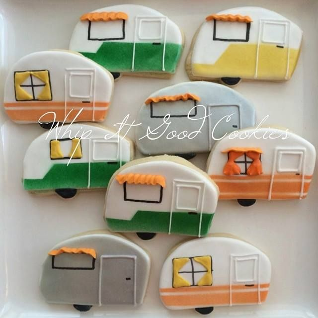 Travel trailer cookies~         By Whip it good cookies, green, Yellow, Orange, silver