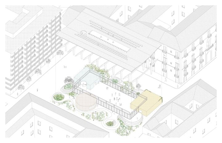 Higher ground - Axonometry - Architecture drawings - Piazza Lupo - Catania - AAA Architetti cercasi - Arcipelago - architettura collettiva
