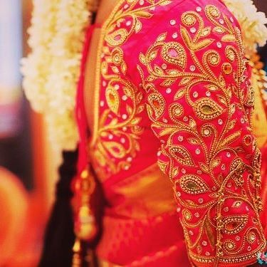 red bridal blouse for silk saree