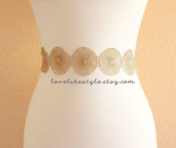 Metallische Doily Netting Gold Lace mit Champagner Satinband Schärpe, Braut Gold Schärpe, Brautjungfer-Feldbinde Gold Lace Stirnband