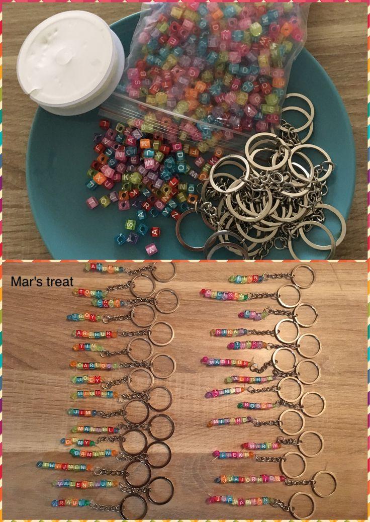 Sleutelhangers met de namen van kinderen. Spullen zijn gemakkelijk en goedkoop te bestellen bij de welbekende Chinese verkoopsite.