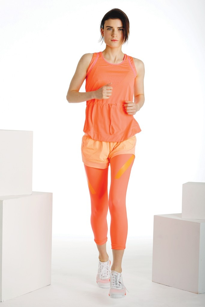 Fall 2013 Trend: Bright Angles (Stella McCartney for Adidas' polyester tank and shorts, and polyester and spandex leggings. Stella McCartney for Adidas sneakers.)