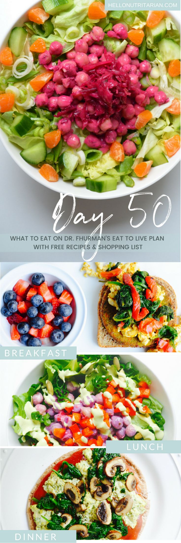 What to eat when you're on a whole food plant based diet, vegan, nutritarian, low-salt, and oil-free!  Get a free daily menu, printable shopping list and links to all the recipes you need for breakfast, lunch and dinner!  Perfect when you're just starting our following Dr. Fuhrman's Eat to Live 6 week plan or Dr. Greger's How not to Die Daily Dozen protocol!  xo, Kristen #nutritarian #eattolive #drfuhrman #drgreger #hownottodie #whatthehealth