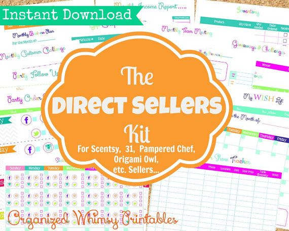 Organizational Printables for sellers of like companies: Pampered Chef, Origami Owl, Scentsy, Tupperware, Mary and Martha, etc.!INSTANT DOWNLOAD  19 Editable Pdf DocumentsThe by OrganizedWhimsy,