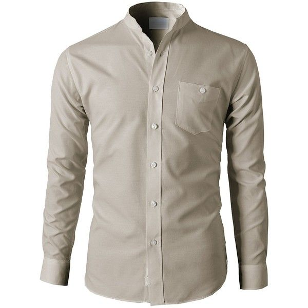H2H Mens Casual Slim Fit Oxford Banded Collar Button-Down Shirt With... ($25) ❤ liked on Polyvore featuring men's fashion, men's clothing, men's shirts, men's casual shirts, mens slim fit oxford shirt, mens casual button down shirts, mens button down shirts, mens banded collar shirts and mens slim fit button down shirts