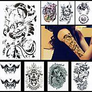 8pcs+djævel+dæmon+buddha+konfrontere+tatovering+vandtæt+midlertidig+tatovering+for+kvinder+mænds+kropskunst+klistermærker+tilbehør+–+DKK+kr.+43