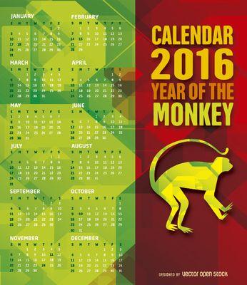 2016 mono calendario año