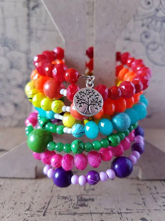 Check out this item in my Etsy shop https://www.etsy.com/au/listing/536883236/rainbow-memory-wire-beaded-bracelet-with