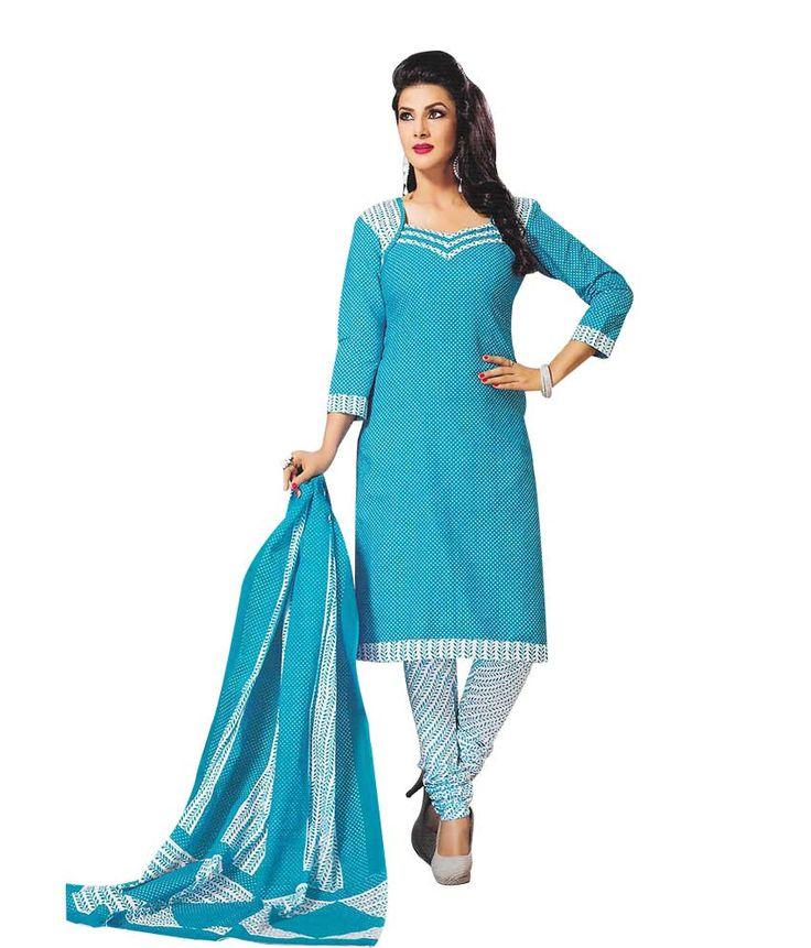 Exquisite Blue & White Cotton Salwar Kameez