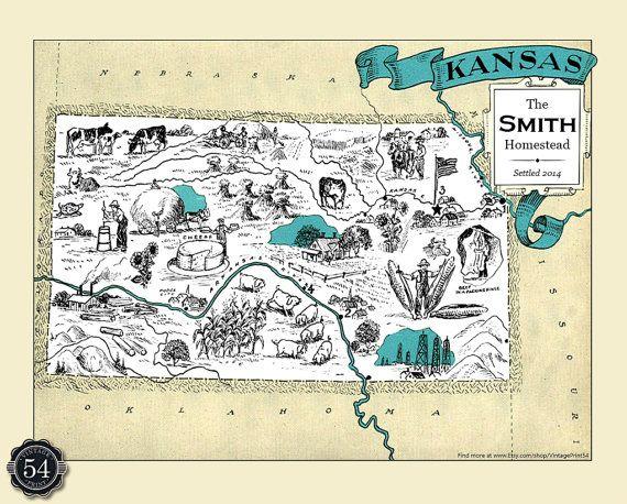 Kansas Ks Vintage Map Custom Map Art Print Map Retro Personalized Map Wedding Housewarming Gift Home