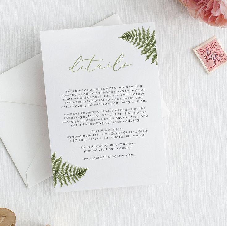 Fern wedding details card template greenery wedding