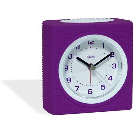 Equity Silent Sweep Analog Alarm Clock, Purple