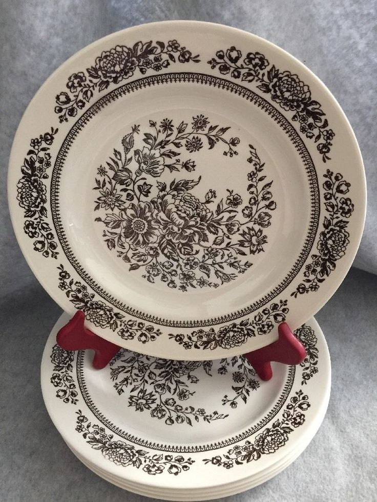 """Lot of 5 Royal China Sussex Cavalier Ironstone 10"""" Dinner Plates Brown"""