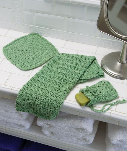 Crochet Eco Chic Bath Set Crochet Pattern   Dress up your powder room and  help save the world  New Red Heart Eco Cotton creates a lovely set of  bathroom. 134 best Crochet It    HH Bath Sets   Accessories images on
