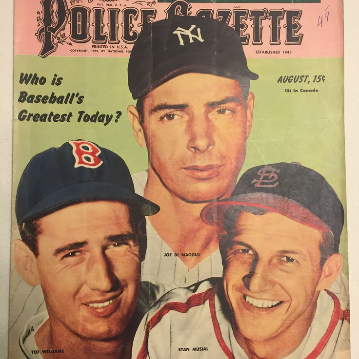 My 1949 Police Gazette featuring Joe DiMaggio Ted Williams and Stan Musial asking who was the best star in the game. An argument could be made for all three! Who do you have? #policegazette #tedwilliams #joedimaggio #stanmusial #boston #bostonredsox #redsox #nyyankees #nyy #yankees #stlouis #stlcardinals #cardinals #mlb #baseball #vintagebaseball #baseballhistory #cooperstown #nationalbaseballhalloffame