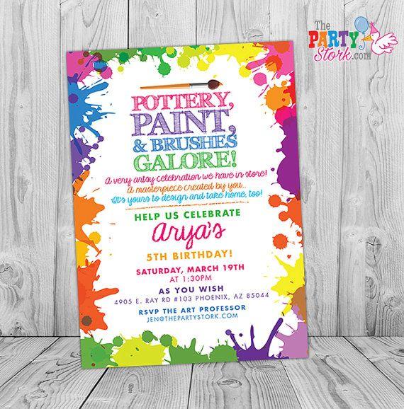 Invitaciones de la fiesta de cerámica: Colores del arco iris para imprimir invitación cumpleaños, chico o chica arte invita, partido imprimibles y decoraciones disponibles