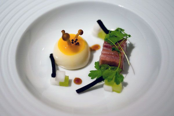 The Fat Duck Restaurant in Berkshire- 40 minutes outside of London. Rated one of the best restaurants in the world