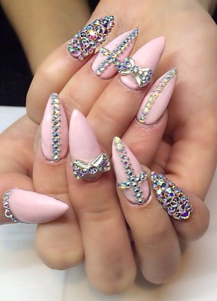 Baby pink gemstone stiletto nails