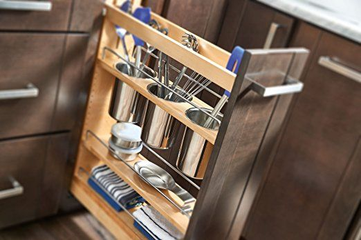 Amazon.com: Rev-A-Shelf - 448UT-BCSC-5C - 5 in. Pull-Out Wood Base Cabinet Utensil Organizer with 3 Bins and Soft-Close Slides: Home & Kitchen