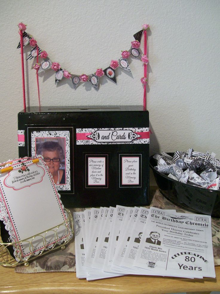 80th birthday party memory station with bday chronicles for 80th decoration