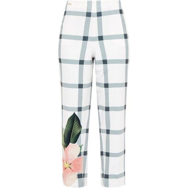Ted Baker Anmari Secret Trellis cropped trousers ($185) ❤ liked on Polyvore featuring pants, capris, white, women, zipper pants, cropped trousers, cropped pants, print pants and cropped capri pants