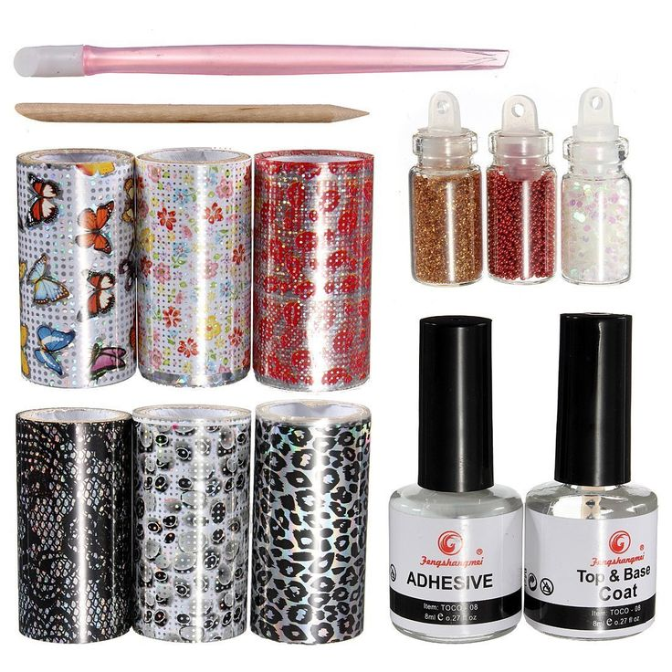 BTArtbox New Designs Good Quality 6 PCS Nail Art Foil Rolls set with Adhesive ** Continue to the product at the image link.