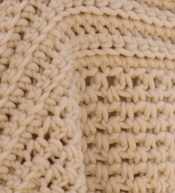 """This is the crochet version of my Honeycomb Brioche Sweater. The gauge is 4 SC & 5 rows for 5"""". It only let me select 4""""."""