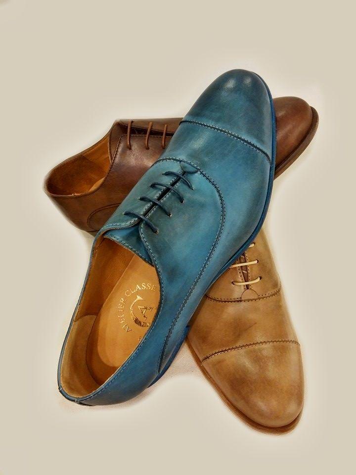 New men's shoes of Atelier Classe.... www.atelierclasse.com #Florence #madeinItaly #shoes #men #pittiuomo #polimoda #handmade #leather #blue #brown #beige