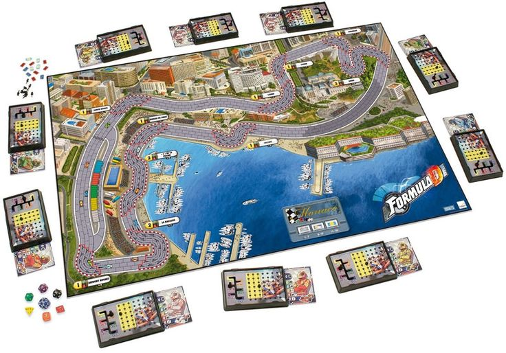 Formula D - by Asmodee:  A high stakes Formula One type racing game where the players race simulated cars with the hope of crossing the finish line first. Easy to learn but a challenge to master, this fast-paced board game for 2-10 players provides auto racing fun for all and takes about an hour to play.
