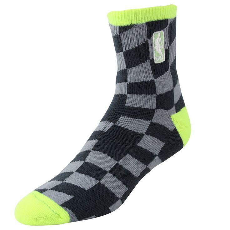 NBA Logo Champion Socks - Charcoal/Neon Green