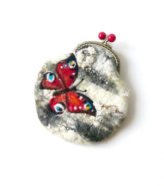 Wet Felted Butterfly on a birch tree coin purse Ready by MSbluesky, $38.00