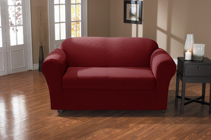 Spencer Wine Sofa Slipcover. Plush, velvety surface with deeply embossed parallel lines approx 1.2 cm apart home decor, form fit slip cover design for your home, chic interior design