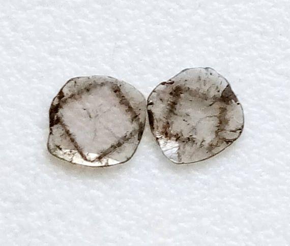 2 Pcs Rare Diamond Slice 5.5mm Natural Cushion Cut Black &