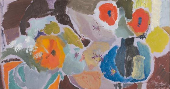 Two Poppies on a Blue Table: Ivon Hitchins