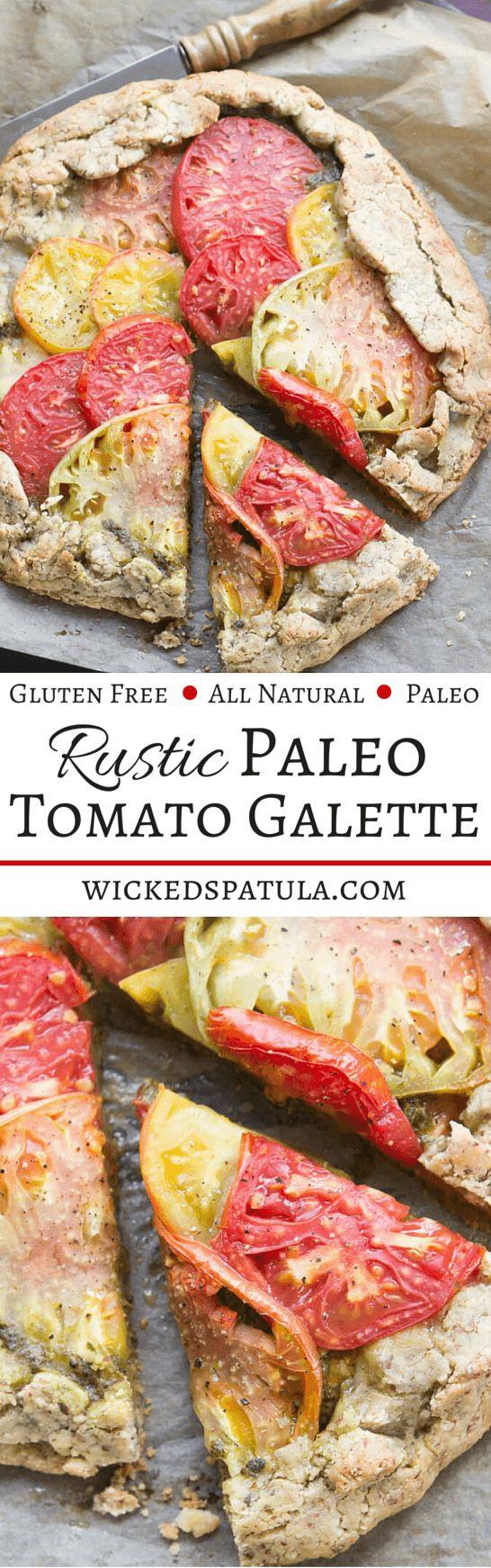 Rustic Paleo Tomato Galette with Arugula Basil Pesto | wickedspatula.com