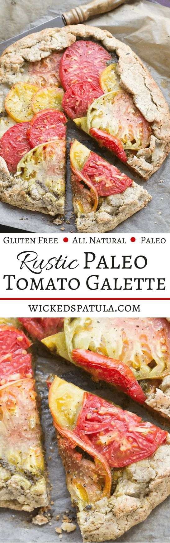 Rustic Paleo Tomato Galette with Arugula Basil Pesto   wickedspatula.com