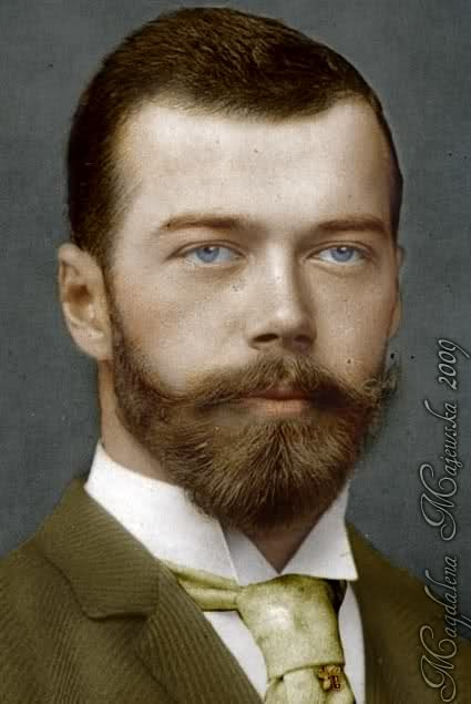 "Tsar Nicholas II ""Nicky"" (Nikolay Alexandrovich Romanov) (1868-1918) Russia. Husband of Alix (Victoria Alix Helena Louise Beatrice) (renamed Alexandra Feodorovna Romanova) (1872-1918) Hesse, Germany. 1st Child of Emperor Alexander III (Alexander Alexandrovich Romanov) (1845-1894) & Princess Dagmar (Marie Sophie Fredrica Dagmar) (renamed Maria Feodorovna) (1847-1928) Denmark. Nicky was the last Emperor of Russia following his murder in 1918."