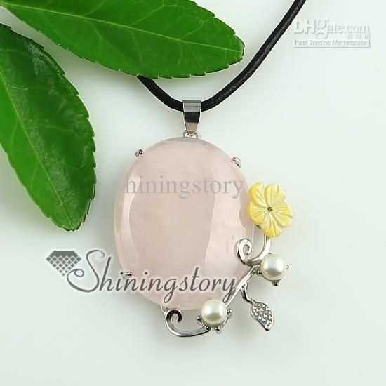 Oval Flower Rose Quartz Turquoise Glass Opal Jade Pendant Necklaces | Buy Wholesale On Line Direct from China