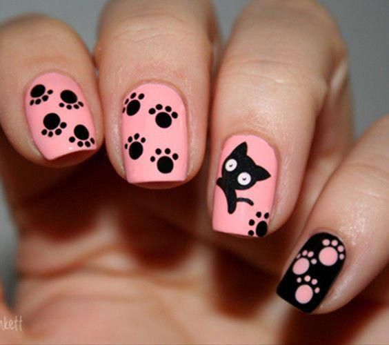 Black Cat Theme Nail Art Water Decals Transfers Stickers Manicure Tips #Ble1498 …