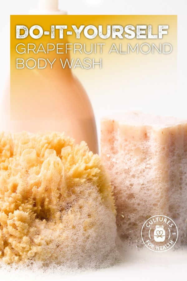 Refreshing Homemade Grapefruit Almond Body Wash Recipe- We're all about keeping DIY projects easy and this body wash is no exception.  |   Cultures for Health