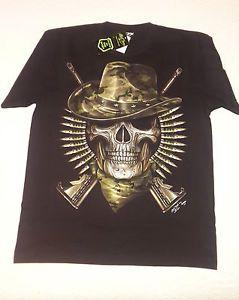 T-shirt Nera Glow in the Dark Skull Military Guns Black   eBay
