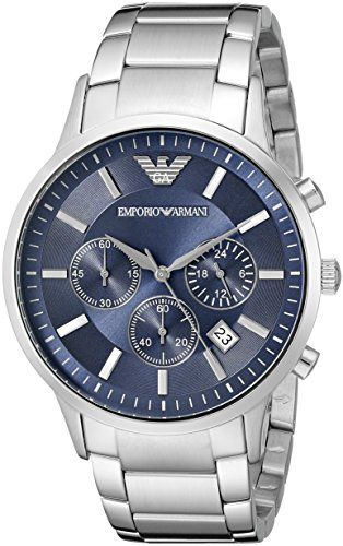 EMPORIO ARMANI Renato Men's Quartz Watch with Blue Dial and Silver Stainless…
