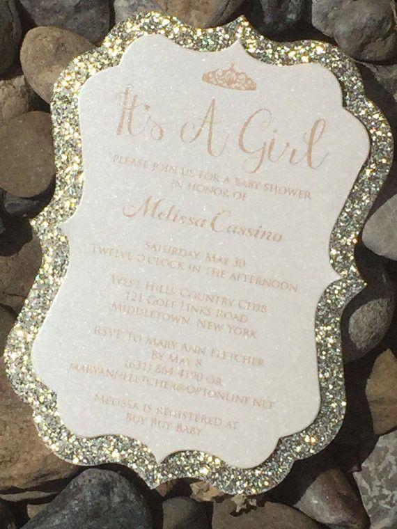 Glitter Baby Shower Invitations, Boy Baby Shower Invite, Baby Girl Shower Invite - Set of 25