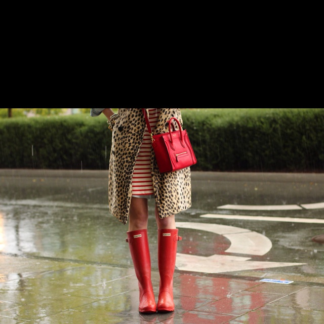 My favourite red striped dress in the rain - works well  with the forever stylish hunter rain-boots ( gum boots wellingtons)